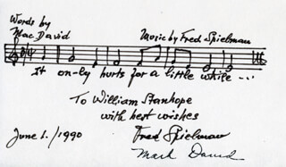 FRED SPIELMAN - INSCRIBED AUTOGRAPH MUSICAL QUOTATION SIGNED 06/01/1990 CO-SIGNED BY: MACK DAVID