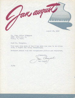 Autographs: JAN AUGUST - TYPED LETTER SIGNED 08/26/1948