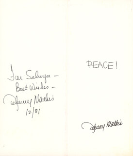 JOHNNY MATHIS - INSCRIBED CHRISTMAS / HOLIDAY CARD SIGNED 12/1981