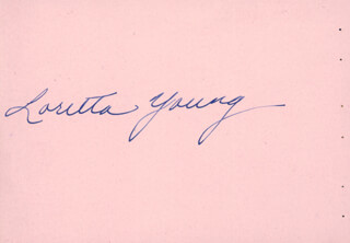 LORETTA YOUNG - INSCRIBED SIGNATURE CO-SIGNED BY: PATRICE MUNSEL