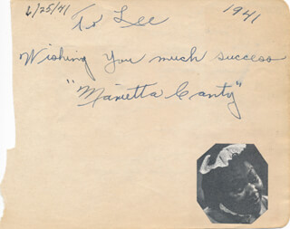 Autographs: MARIETTA CANTY - AUTOGRAPH NOTE SIGNED CIRCA 1941 CO-SIGNED BY: SIX HITS AND A MISS , SIX HITS AND A MISS (MACK MCLEAN), SIX HITS AND A MISS (BILL SECKLER), SIX HITS AND A MISS (MARVIN BAILEY), SIX HITS AND A MISS (HOWARD HUDSON), SIX HITS AND A MISS (VINCENT DEGEN), SIX HITS AND A MISS (PAULINE BYRNS), SIX HITS AND A MISS (JERRY PRESHAW)