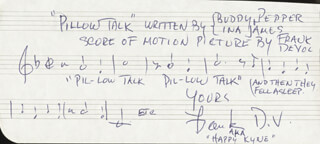 FRANK DE VOL - AUTOGRAPH MUSICAL QUOTATION SIGNED