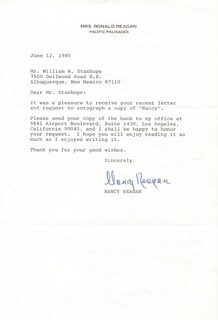 FIRST LADY NANCY DAVIS REAGAN - TYPED LETTER SIGNED 06/12/1980