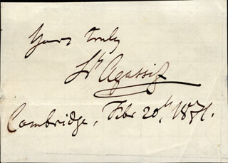 Autographs: LOUIS AGASSIZ - AUTOGRAPH SENTIMENT SIGNED 02/20/1851