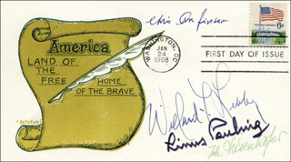 LINUS PAULING - FIRST DAY COVER SIGNED CO-SIGNED BY: CHRISTIAN B. ANFINSEN, PAUL BERG, WILLARD F. LIBBY, JOHANN DEISENHOFER