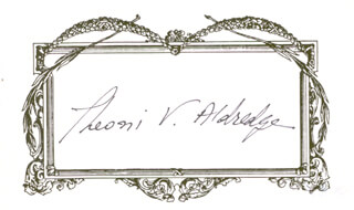 THEONI V. ALDREDGE - PRINTED CARD SIGNED IN INK
