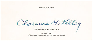CLARENCE M. KELLEY - PRINTED CARD SIGNED IN INK