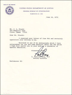 L. PATRICK GRAY III - TYPED LETTER SIGNED 06/14/1972