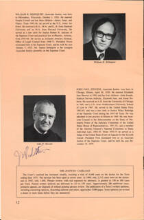 ASSOCIATE JUSTICE JOHN PAUL STEVENS - PAMPHLET SIGNED