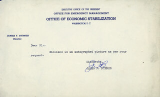 ASSOCIATE JUSTICE JAMES F. BYRNES - TYPED NOTE SIGNED