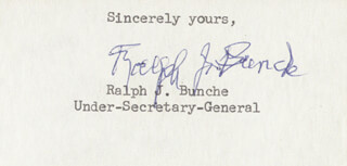 Autographs: RALPH J. BUNCHE - TYPED SENTIMENT SIGNED