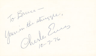 CHARLES EVERS - AUTOGRAPH NOTE SIGNED 10/07/1976