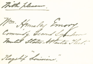Autographs: REAR ADMIRAL WILLIAM HEMSLEY EMORY - AUTOGRAPH SENTIMENT SIGNED