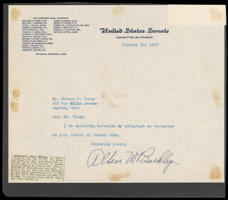 VICE PRESIDENT ALBEN W. BARKLEY - TYPED NOTE SIGNED 01/30/1937