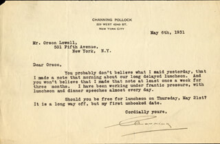 CHANNING POLLOCK - TYPED LETTER SIGNED 05/06/1931