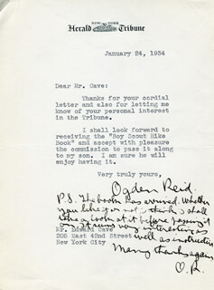 OGDEN R. REID - TYPED LETTER TWICE SIGNED 01/24/1934