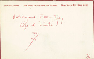 FANNIE HURST - AUTOGRAPH POST CARD UNSIGNED
