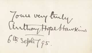 SIR ANTHONY HOPE HAWKINS - AUTOGRAPH SENTIMENT SIGNED 09/06/1895