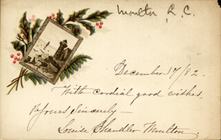 Autographs: LOUISE CHANDLER MOULTON - CHRISTMAS / HOLIDAY CARD SIGNED 12/17/1882