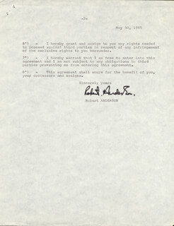 Autographs: ROBERT ANDERSON - TYPED DOCUMENT SIGNED 05/30/1965