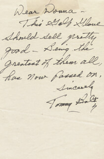 TOMMY BOLT - AUTOGRAPH LETTER SIGNED
