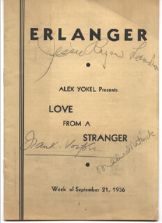 LOVE FROM A STRANGER PLAY CAST - PROGRAM SIGNED CIRCA 1936 CO-SIGNED BY: MILDRED NATWICK, JESSIE ROYCE LANDIS, FRANK VOSPER