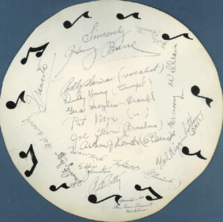 HENRY BUSSE - AUTOGRAPH 1939 CO-SIGNED BY: PEE WEE HUNT, BILLY HERMAN, DUCKY YOUNG, GUS MAYHEW, JOE TURI, ARTHUR J. RANDLE, HOWARD HIATT, SAM LUTZ, KARL HIGGINBOTHAM, MURRAY WILLIAMS, BILLY HUNTER, EDDIE JOHNSTON, MEL HURWITZ, RUTH PETTY, FRANCITA