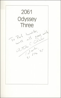 SIR ARTHUR C. CLARKE - INSCRIBED BOOK SIGNED 05/31/1995