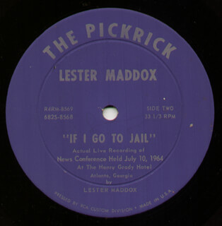 Autographs: GOVERNOR LESTER G. MADDOX - RECORD UNSIGNED