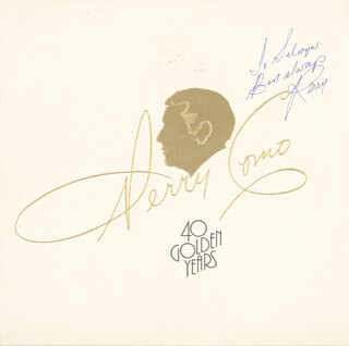 PERRY COMO - INSCRIBED RECORD ALBUM SIGNED