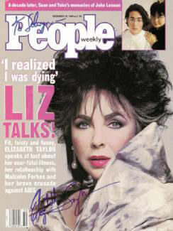 Autographs: ELIZABETH LIZ TAYLOR - INSCRIBED MAGAZINE COVER SIGNED