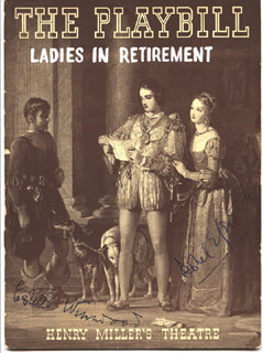 LADIES IN RETIREMENT PLAY CAST - SHOW BILL SIGNED CO-SIGNED BY: ESTELLE WINWOOD, ISOBEL ELSOM