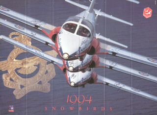 THE ROYAL CANADIAN A. F. SNOWBIRDS - PROGRAM SIGNED CIRCA 1994 CO-SIGNED BY: CAPTAIN MARIO HAMEL, CAPTAIN WILL McEWAN, CAPTAIN DAVE DEERE, CAPTAIN NORM DEQUIER, CAPTAIN MENES PIERRE-PIERRE, CAPTAIN STEVE DION, CAPTAIN GREG CARLOW, MAJOR JEFF YOUNG, MAJOR IAN SEARLE, LT. COLONEL STEVE HILL
