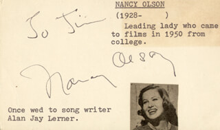 NANCY OLSON - INSCRIBED CARD SIGNED