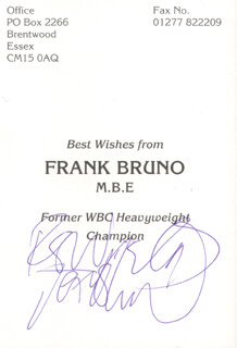 FRANK BRUNO - PRINTED PHOTOGRAPH SIGNED IN INK