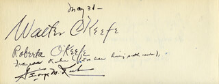 WALTER O'KEEFE - AUTOGRAPH 5/31 CO-SIGNED BY: ROBERTA O'KEEFE, ROSE JERMAIN, GEORGE JERMAIN, PAUL JACKELS