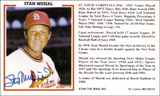 STAN THE MAN MUSIAL - PRINTED PHOTOGRAPH SIGNED IN INK
