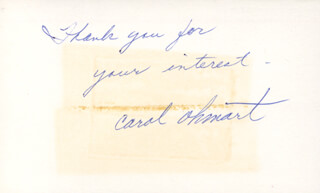 CAROL OHMART - AUTOGRAPH NOTE SIGNED