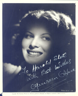 MAUREEN O'HARA - AUTOGRAPHED INSCRIBED PHOTOGRAPH 1939