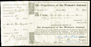 Autographs: ALICE STONE BLACKWELL - STOCK CERTIFICATE SIGNED 07/07/1911 CO-SIGNED BY: FRANCIS J. GARRISON, CATHARINE WILDE