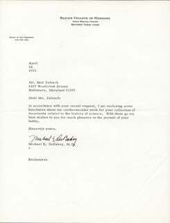 DR. MICHAEL E. DEBAKEY - TYPED LETTER SIGNED 04/24/1973