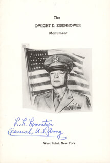 Autographs: GENERAL LYMAN L. LEMNITZER - PAMPHLET SIGNED