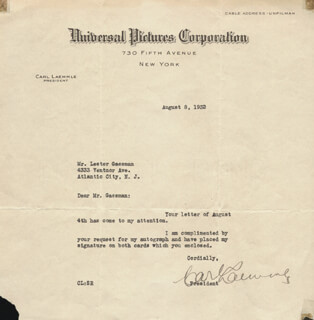 CARL LAEMMLE SR. - TYPED NOTE SIGNED 08/08/1932