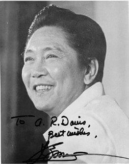 PRESIDENT FERDINAND E. MARCOS (PHILIPPINES) - AUTOGRAPHED SIGNED PHOTOGRAPH