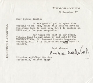 ERSKINE CALDWELL - TYPED LETTER SIGNED 12/24/1977