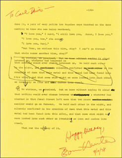 ED (EVAN HUNTER) MCBAIN - ANNOTATED TYPED MANUSCRIPT SIGNED 09/10/1978