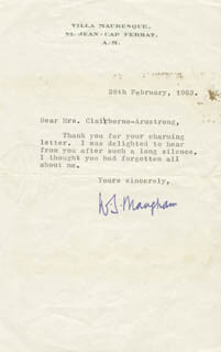 W. SOMERSET MAUGHAM - TYPED LETTER SIGNED 02/28/1963