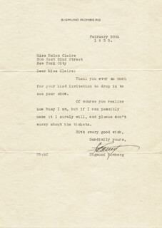 SIGMUND ROMBERG - TYPED LETTER SIGNED 02/28/1935