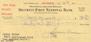 LENNY BRUCE - AUTOGRAPHED SIGNED CHECK 12/23/1961