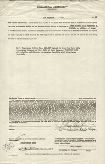 GARY COOPER - DOCUMENT SIGNED 1943 CO-SIGNED BY: VERONICA B. (SANDRA SHAW) COOPER